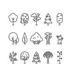 Primitive simple contour line trees nature plants vector