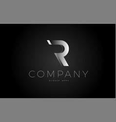 R black white silver letter logo design icon vector