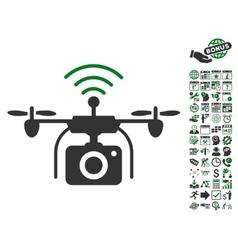 Radio Camera Drone Icon With Bonus vector