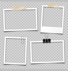 Realistic empty photo card frame film set retro vector