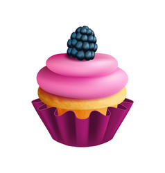 Realistic fruit cupcake isolated bakery element vector