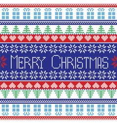 Red blue green white Merry Christmas pattern vector image