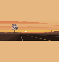 Road and route 66 sign and sunset scene vector