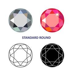 Round gem cut vector