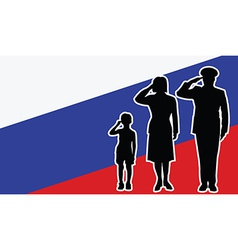 Russia soldier family salute vector image