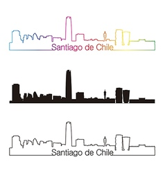Santiago de Chile skyline linear style with vector