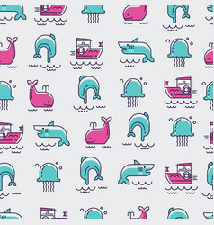 sea inhabitants seamless pattern vector image