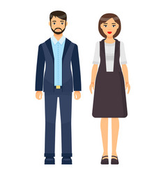 set cartoon office workers wearing office cloth vector image