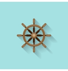 Ship steering wheel in a flat style Sailing vector
