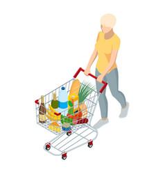 shopping cart full food woman pushing vector image