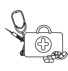Silhouette suitcase health with stethoscope vector