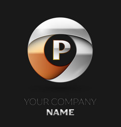 silver letter p logo symbol in the circle shape vector image
