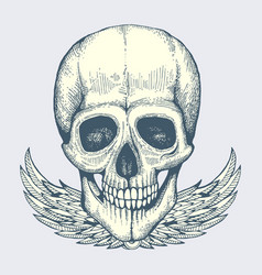 Sketched human skull with wings - vintage biker vector