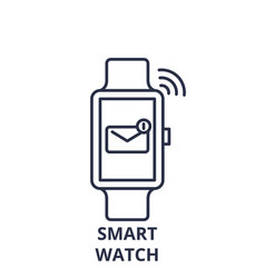 smart watch line icon concept smart watch vector image