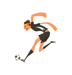 soccer player in black uniform kicking the ball vector image