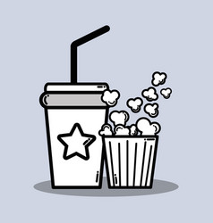 Soda beverage and popcorn in the cinema movie vector