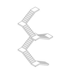 Staircase with platforms outline isometric vector