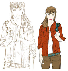 stylish girl in red jacket vector image