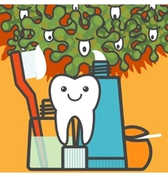 Tooth and dental care things vector image