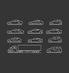 transportation icon set car truck symbol vector image