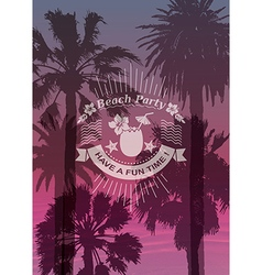 Travel background and label with coconut cocktail vector
