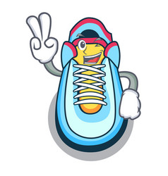 two finger cartoon pair of casual sneakers vector image
