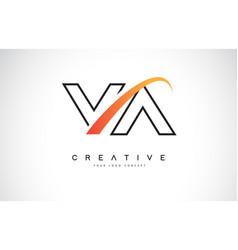 va v a swoosh letter logo design with modern vector image