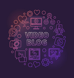 video blog circular concept colorful linear vector image