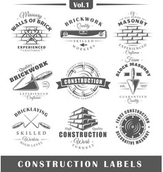 vintage construction labels vector image
