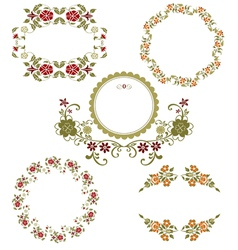 Vintage floral graphic collection vector image