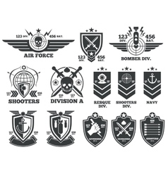 Vintage military labels and patches vector image