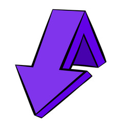 violet down arrow icon icon cartoon vector image