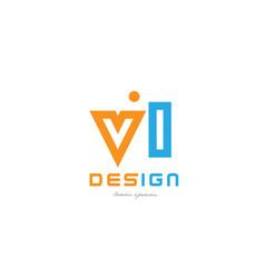 vl v l orange blue alphabet letter logo vector image