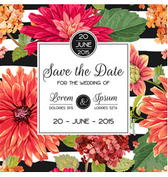 Wedding invitation template with asters flowers vector