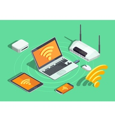 Wireless Technology Electronic Devices Isometric vector