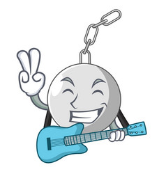 With guitar wrecking ball isolated on a mascot vector
