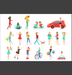 women and girls different lifestyle activities set vector image