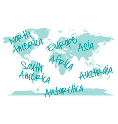 World map with continents map vector