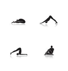 yoga asanas drop shadow black glyph icons set vector image