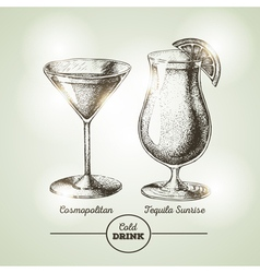Cocktail sketch vector