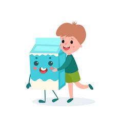 cute boy hugging humanized cardboard box of milk vector image