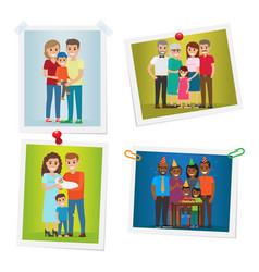 family happy moments photos set gallery on white vector image vector image