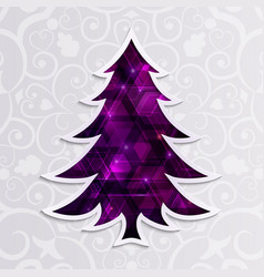 Glowing purple christmas tree isolated on the vector