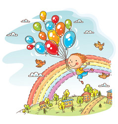 happy child flying with the balloons vector image