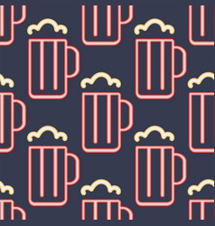 light neon beer cups seamless pattern background vector image