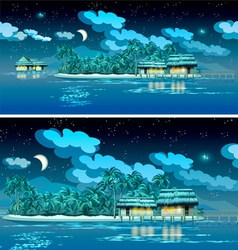 paradise islands at night vector image vector image