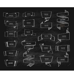 Big chalk retro origami banners set vector image vector image