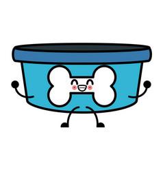 dog bowl bone kawaii cartoon vector image