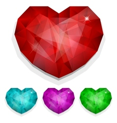 Set of gems heart vector image