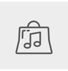 Shopping bag with musical note thin line icon vector image